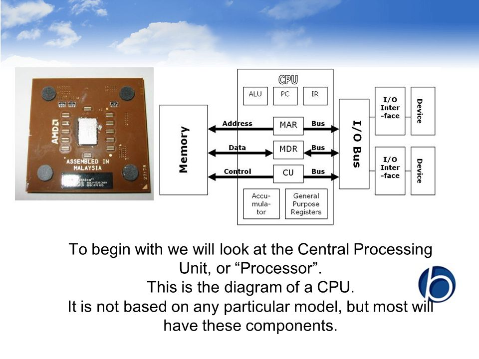 "To begin with we will look at the Central Processing Unit, or ""Processor"". This is the diagram of a CPU. It is not based on any particular model, but"