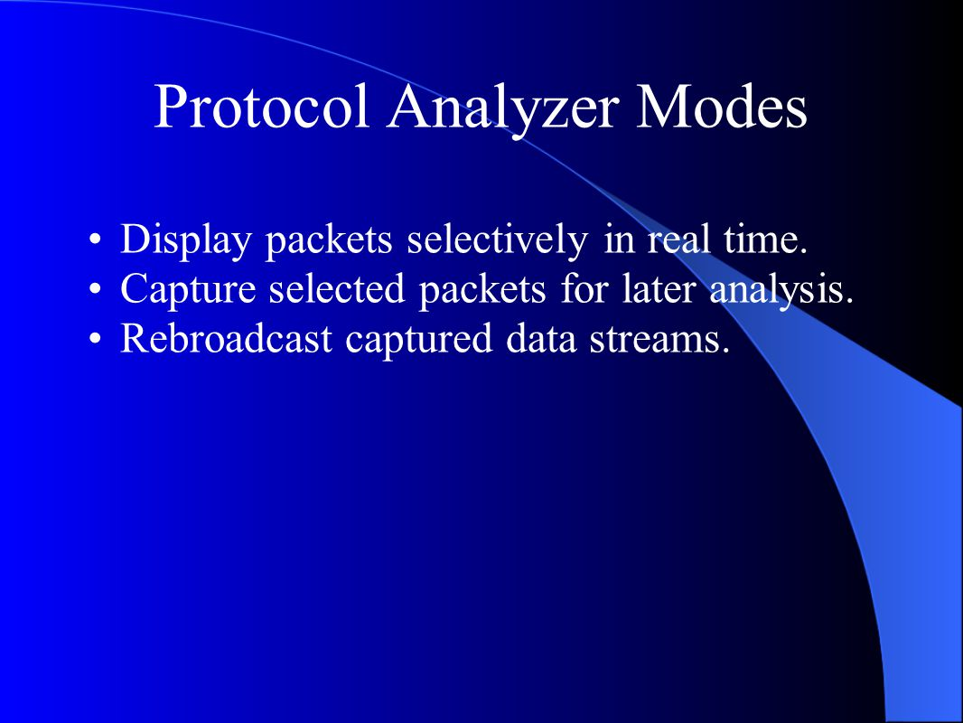 Protocol Analyzer Modes Display packets selectively in real time.