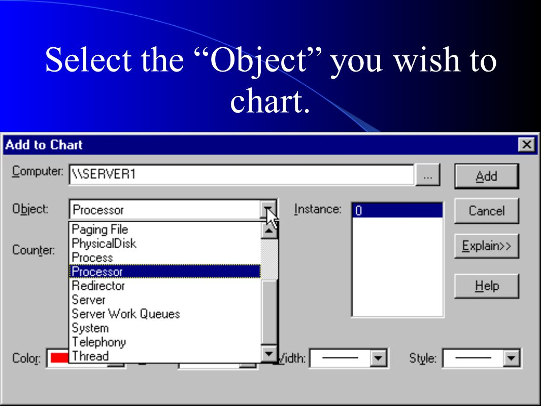 Select the Object you wish to chart.