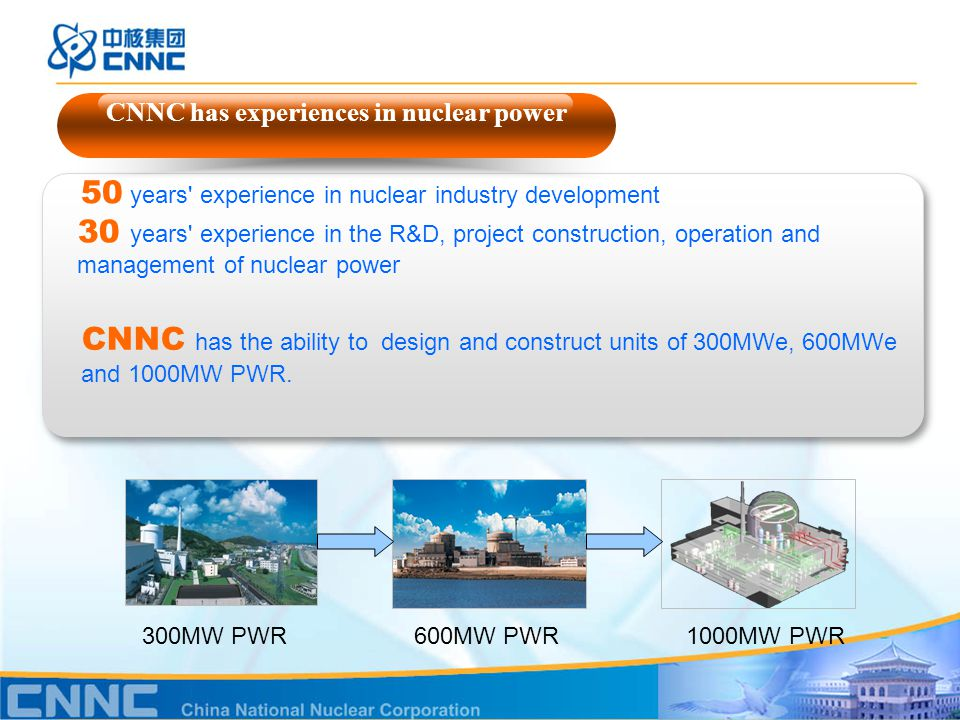50 years experience in nuclear industry development 30 years experience in the R&D, project construction, operation and management of nuclear power CNNC has experiences in nuclear power 300MW PWR CNNC has the ability to design and construct units of 300MWe, 600MWe and 1000MW PWR.