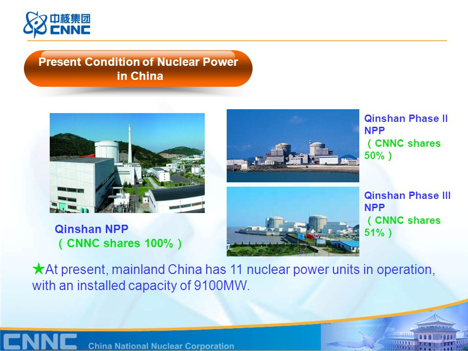 Present Condition of Nuclear Power in China ★ At present, mainland China has 11 nuclear power units in operation, with an installed capacity of 9100MW.