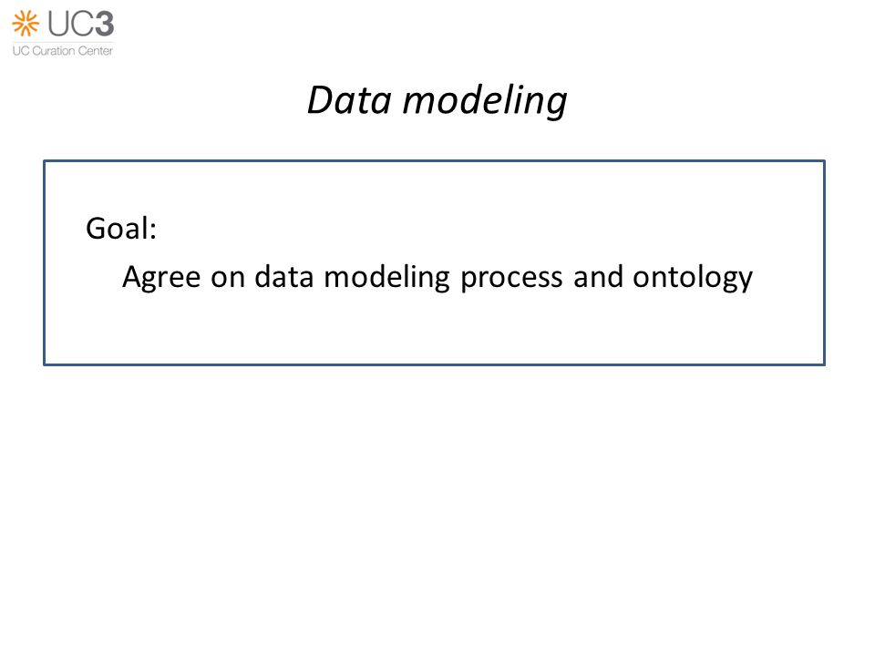 Data modeling Goal: Agree on data modeling process and ontology