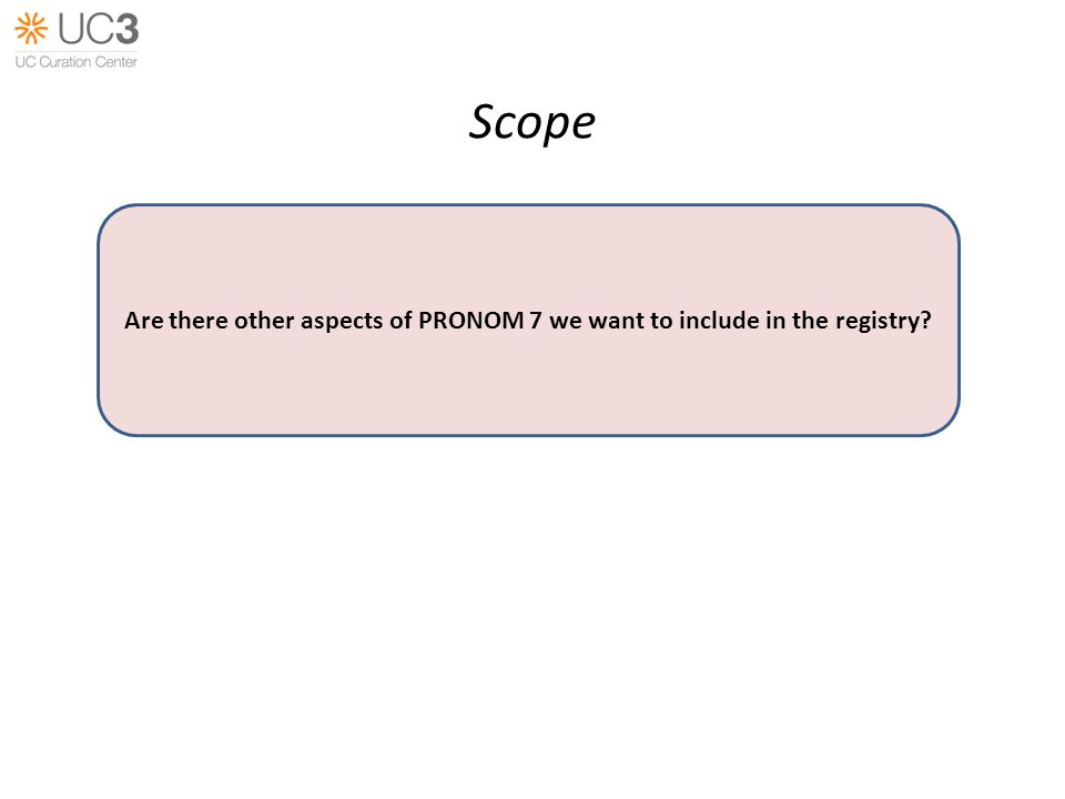 Scope Are there other aspects of PRONOM 7 we want to include in the registry