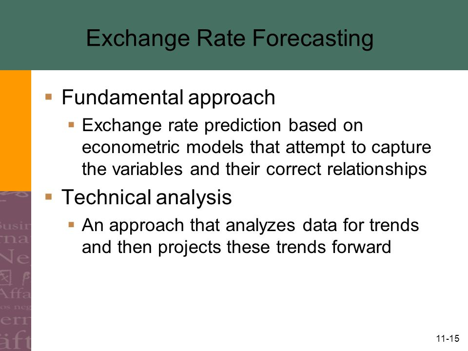 11-15 Exchange Rate Forecasting  Fundamental approach  Exchange rate prediction based on econometric models that attempt to capture the variables and their correct relationships  Technical analysis  An approach that analyzes data for trends and then projects these trends forward