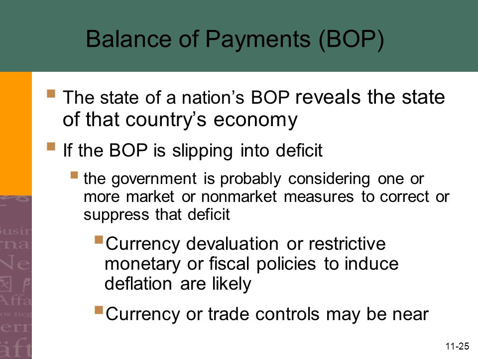 11-25 Balance of Payments (BOP)  The state of a nation's BOP reveals the state of that country's economy  If the BOP is slipping into deficit  the government is probably considering one or more market or nonmarket measures to correct or suppress that deficit  Currency devaluation or restrictive monetary or fiscal policies to induce deflation are likely  Currency or trade controls may be near