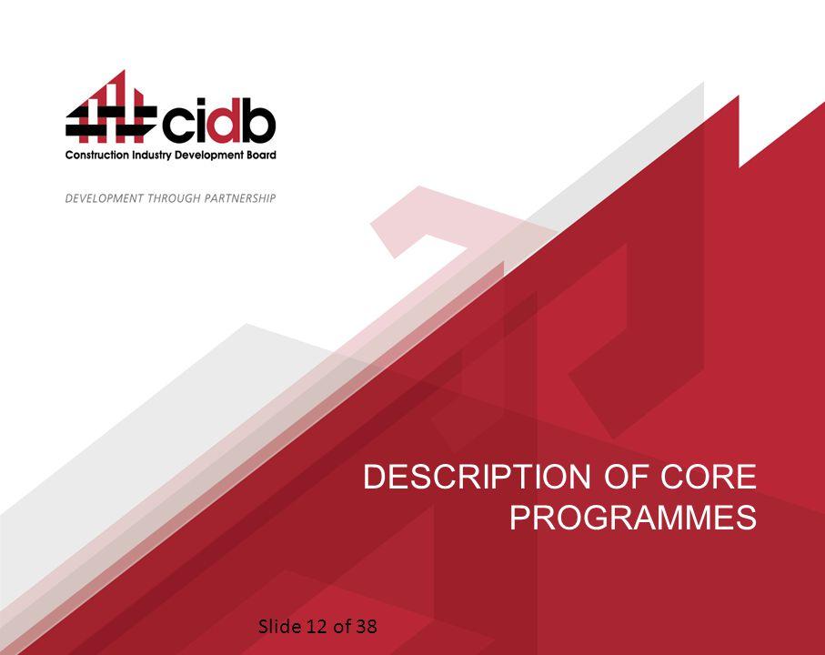 Slide 12 of 38 DESCRIPTION OF CORE PROGRAMMES