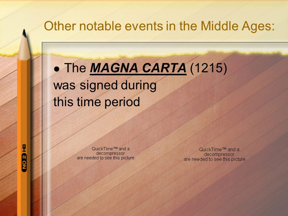 Other notable events in the Middle Ages: The MAGNA CARTA (1215) was signed during this time period