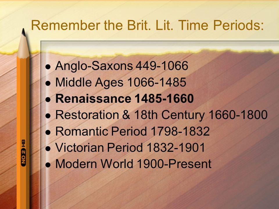Remember the Brit. Lit.