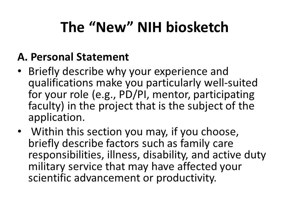 The New NIH biosketch A.