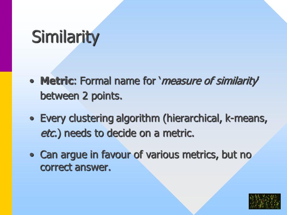 Similarity Metric: Formal name for 'measure of similarity' between 2 points.Metric: Formal name for 'measure of similarity' between 2 points.