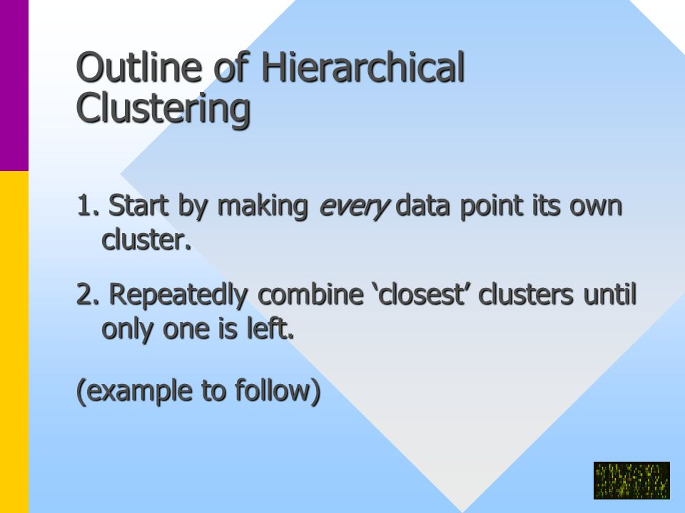 Outline of Hierarchical Clustering 1.Start by making every data point its own cluster.
