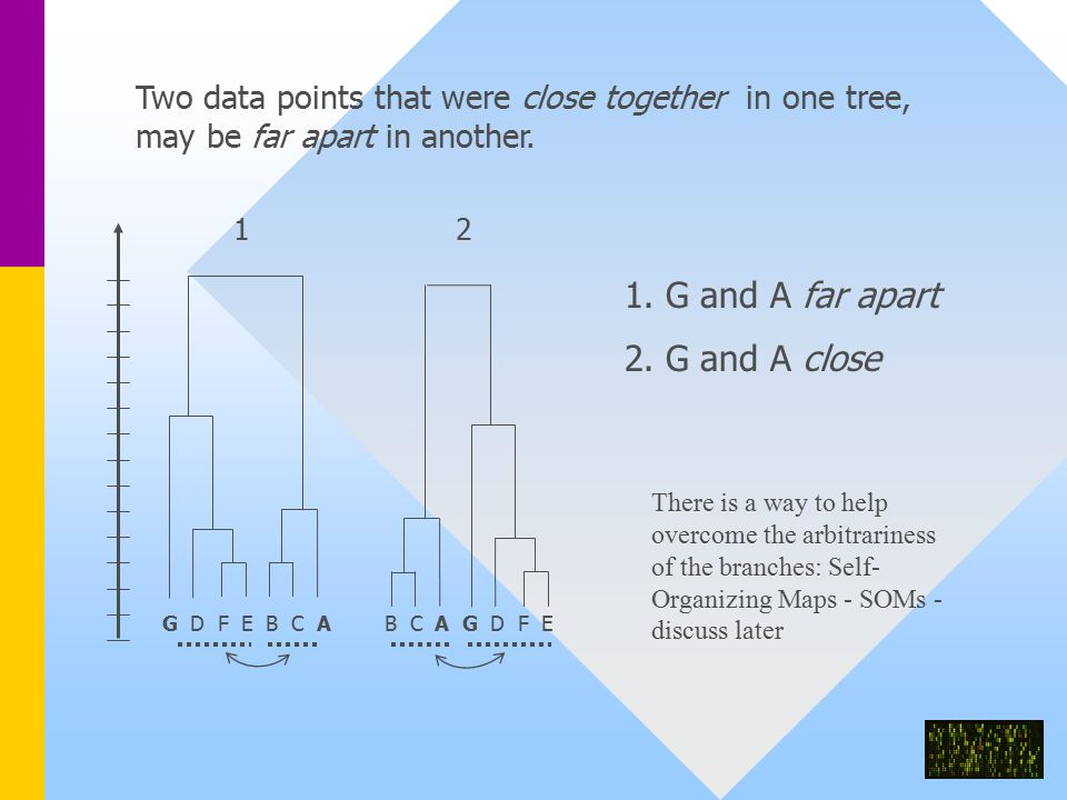 Two data points that were close together in one tree, may be far apart in another.