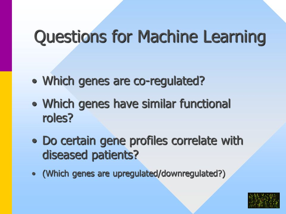 Questions for Machine Learning Which genes are co-regulated Which genes are co-regulated.