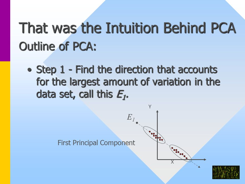 That was the Intuition Behind PCA Outline of PCA: Step 1 - Find the direction that accounts for the largest amount of variation in the data set, call this E 1.Step 1 - Find the direction that accounts for the largest amount of variation in the data set, call this E 1.