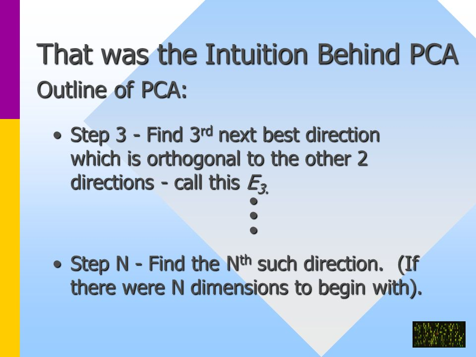 That was the Intuition Behind PCA Outline of PCA: Step 3 - Find 3 rd next best direction which is orthogonal to the other 2 directions - call this E 3.Step 3 - Find 3 rd next best direction which is orthogonal to the other 2 directions - call this E 3.