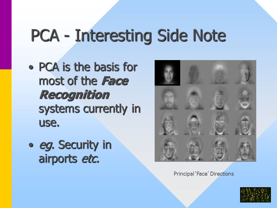PCA - Interesting Side Note PCA is the basis for most of the Face Recognition systems currently in use.PCA is the basis for most of the Face Recognition systems currently in use.