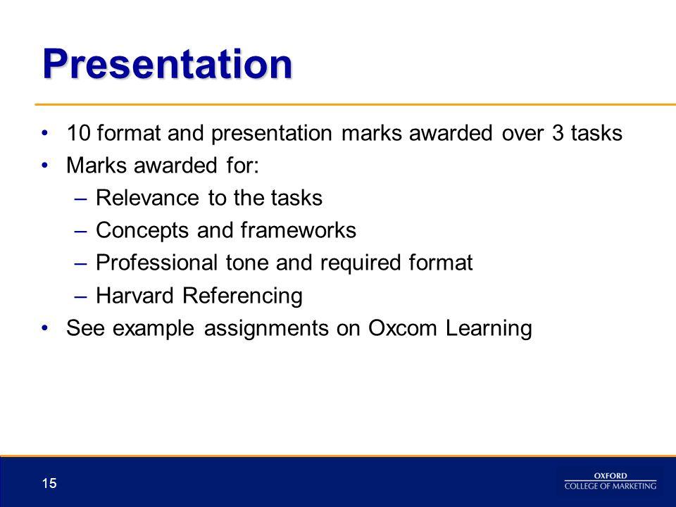 Presentation 10 format and presentation marks awarded over 3 tasks Marks awarded for: –Relevance to the tasks –Concepts and frameworks –Professional t