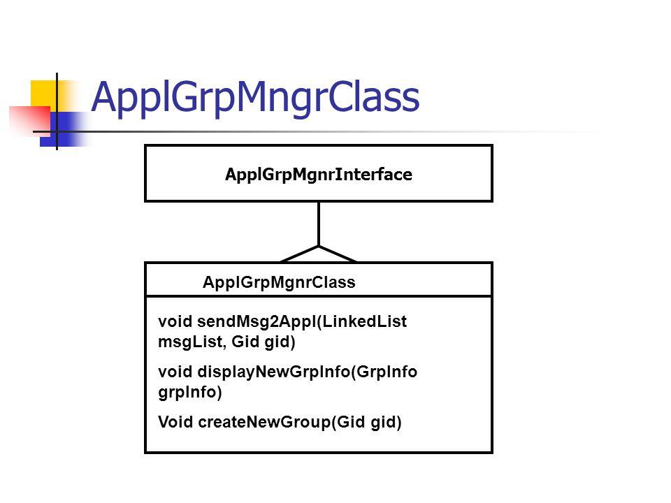 ApplGrpMngrClass ApplGrpMgnrClass void sendMsg2Appl(LinkedList msgList, Gid gid) void displayNewGrpInfo(GrpInfo grpInfo) Void createNewGroup(Gid gid) ApplGrpMgnrInterface
