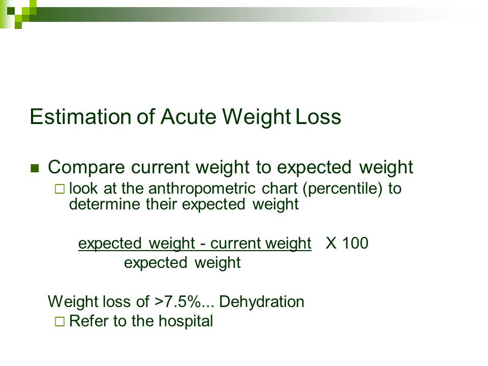 Estimation of Acute Weight Loss Compare current weight to expected weight  look at the anthropometric chart (percentile) to determine their expected weight expected weight - current weight X 100 expected weight Weight loss of >7.5%...
