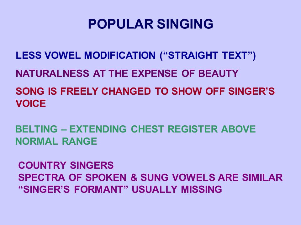 POPULAR SINGING LESS VOWEL MODIFICATION ( STRAIGHT TEXT ) NATURALNESS AT THE EXPENSE OF BEAUTY SONG IS FREELY CHANGED TO SHOW OFF SINGER'S VOICE BELTING – EXTENDING CHEST REGISTER ABOVE NORMAL RANGE COUNTRY SINGERS SPECTRA OF SPOKEN & SUNG VOWELS ARE SIMILAR SINGER'S FORMANT USUALLY MISSING