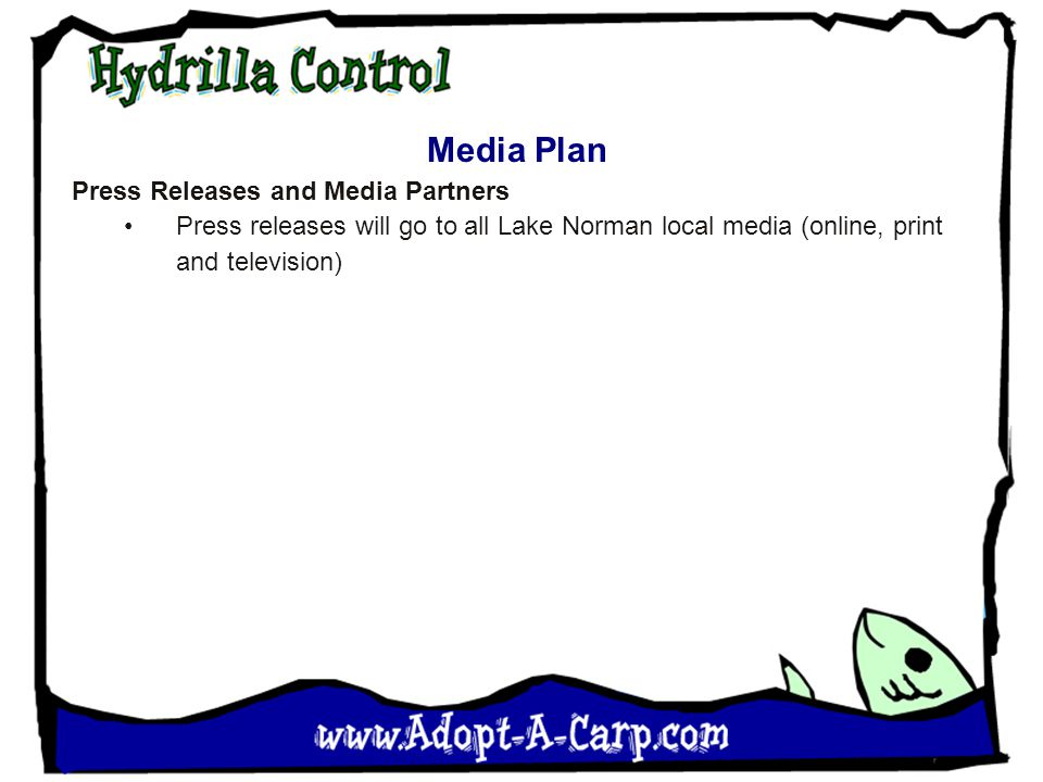 Media Plan Press Releases and Media Partners Press releases will go to all Lake Norman local media (online, print and television)