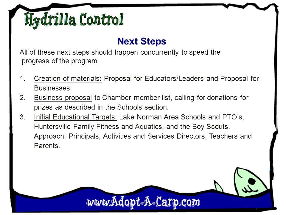 Next Steps All of these next steps should happen concurrently to speed the progress of the program.