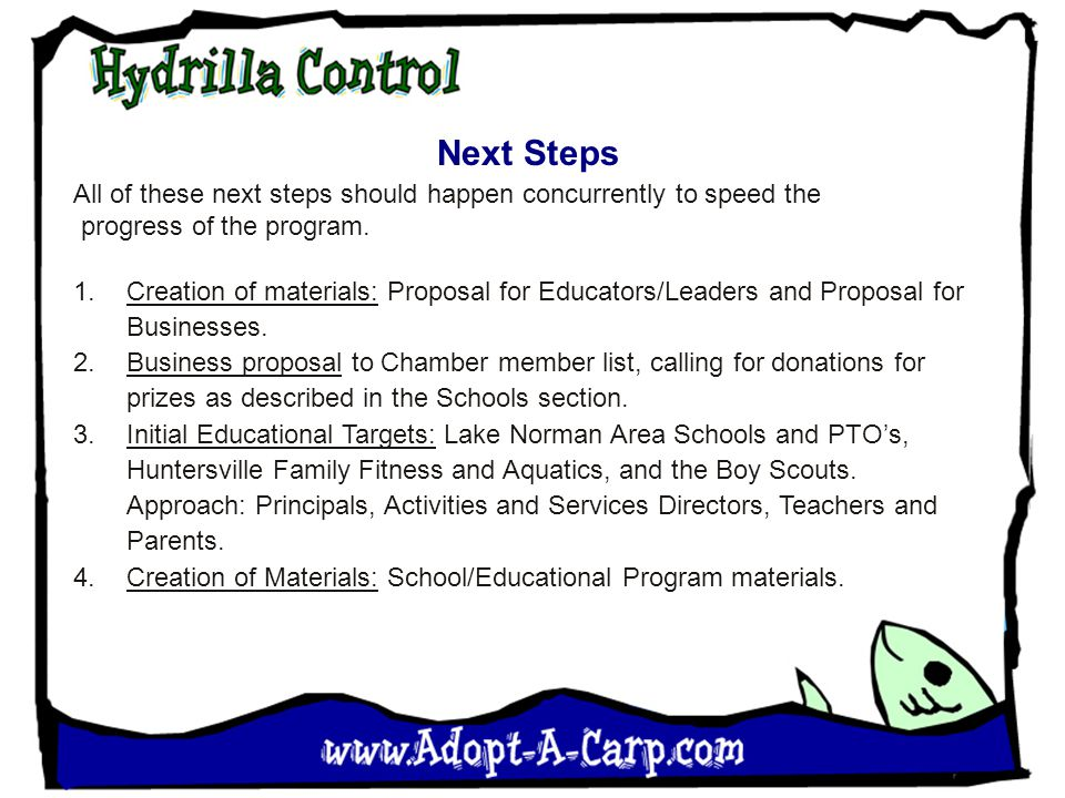 Next Steps All of these next steps should happen concurrently to speed the progress of the program. 1.Creation of materials: Proposal for Educators/Le