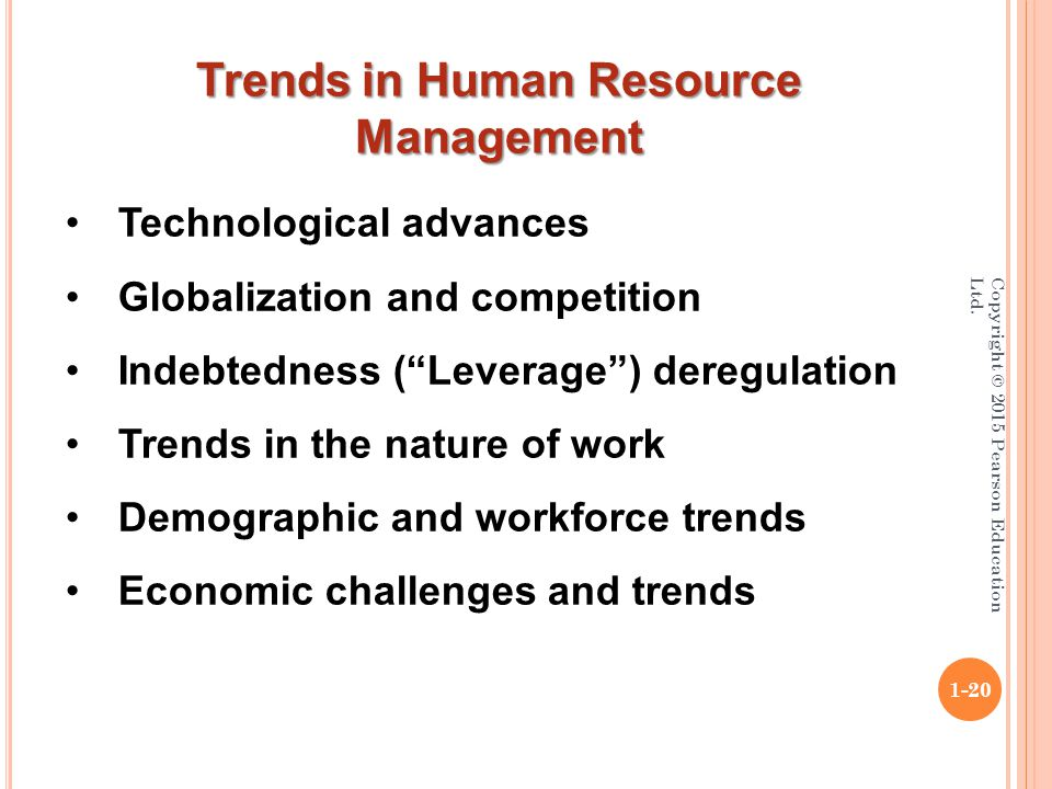 """Copyright © 2015 Pearson Education Ltd. 1-20 Technological advances Globalization and competition Indebtedness (""""Leverage"""") deregulation Trends in the"""