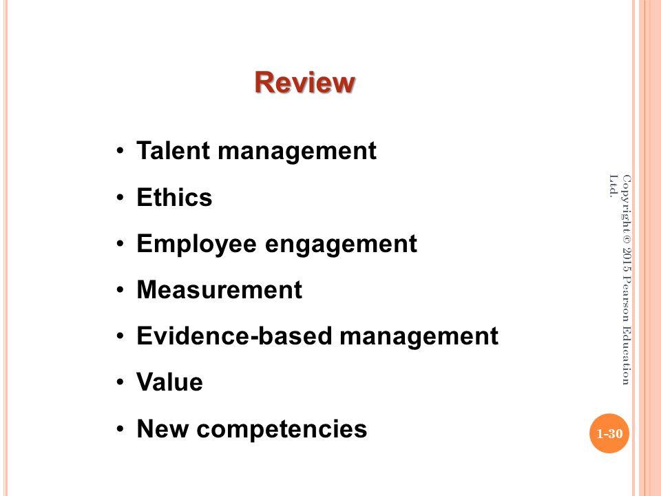 Copyright © 2015 Pearson Education Ltd. 1-30 Talent management Ethics Employee engagement Measurement Evidence-based management Value New competencies
