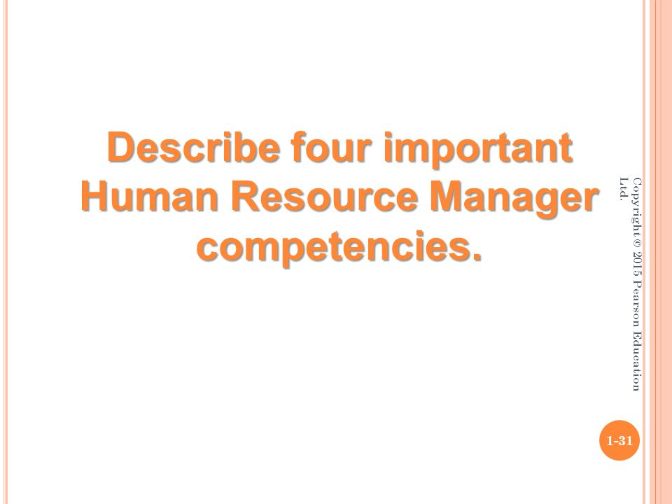 Copyright © 2015 Pearson Education Ltd. 1-31 Describe four important Human Resource Manager competencies.