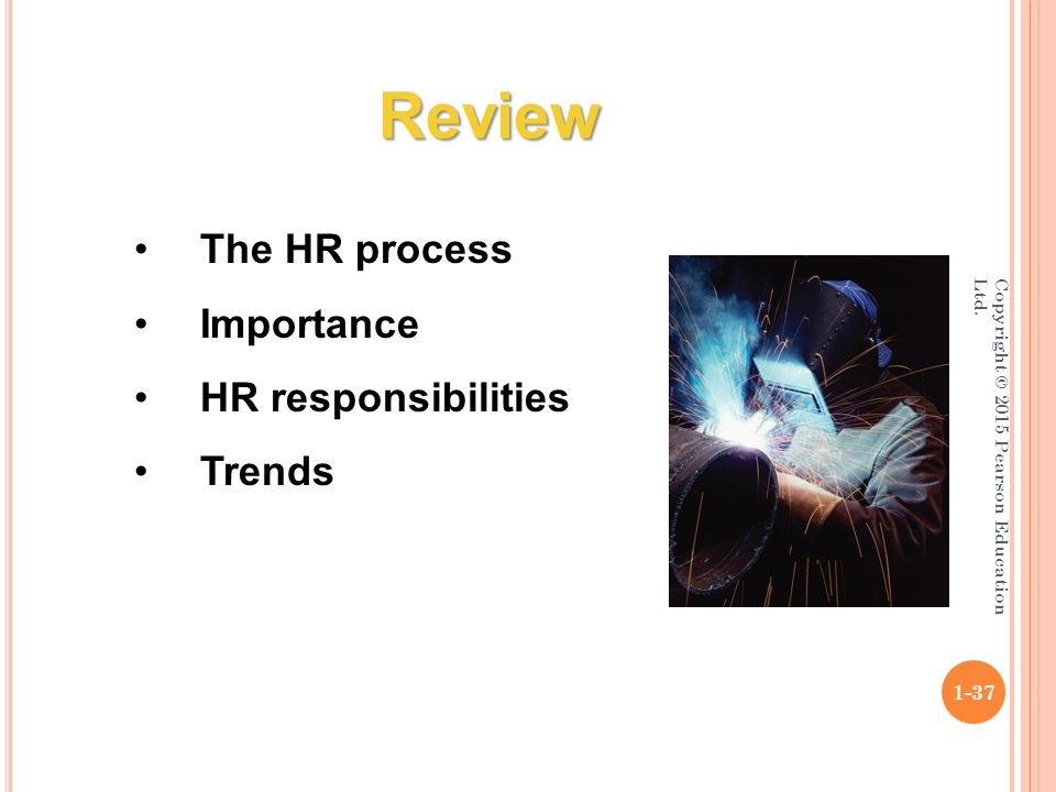 Copyright © 2015 Pearson Education Ltd. 1-37 The HR process Importance HR responsibilities Trends Review