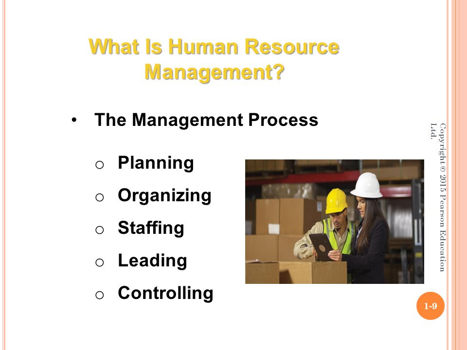 Copyright © 2015 Pearson Education Ltd.1-9 What Is Human Resource Management.