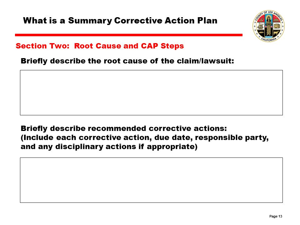 Page 13 Briefly describe the root cause of the claim/lawsuit: Briefly describe recommended corrective actions: (Include each corrective action, due date, responsible party, and any disciplinary actions if appropriate) What is a Summary Corrective Action Plan Section Two: Root Cause and CAP Steps