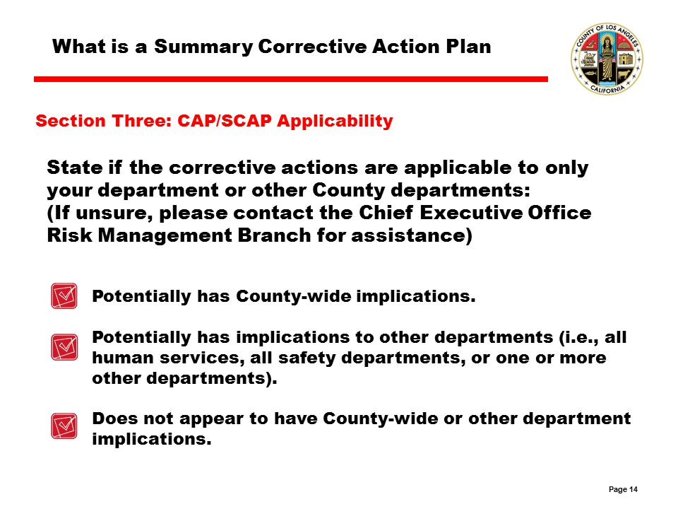 Page 14 What is a Summary Corrective Action Plan State if the corrective actions are applicable to only your department or other County departments: (If unsure, please contact the Chief Executive Office Risk Management Branch for assistance) Potentially has County-wide implications.