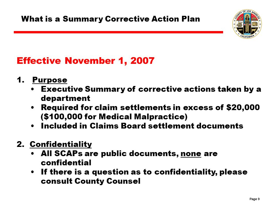 Page 10 What is a Summary Corrective Action Plan Document that outlines the following: 1.Root Causes 2.Corrective Action Steps 3.Applicability to Other Departments