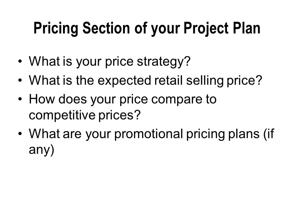 Pricing Section of your Project Plan What is your price strategy.