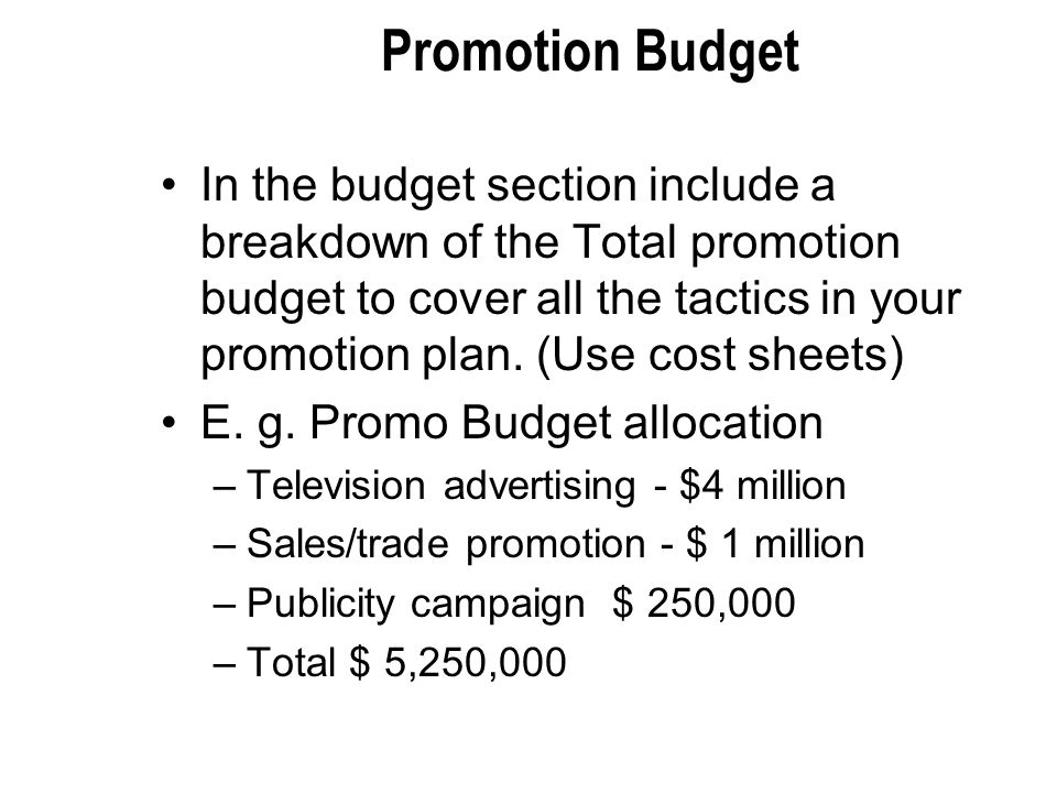 Promotion Budget In the budget section include a breakdown of the Total promotion budget to cover all the tactics in your promotion plan.