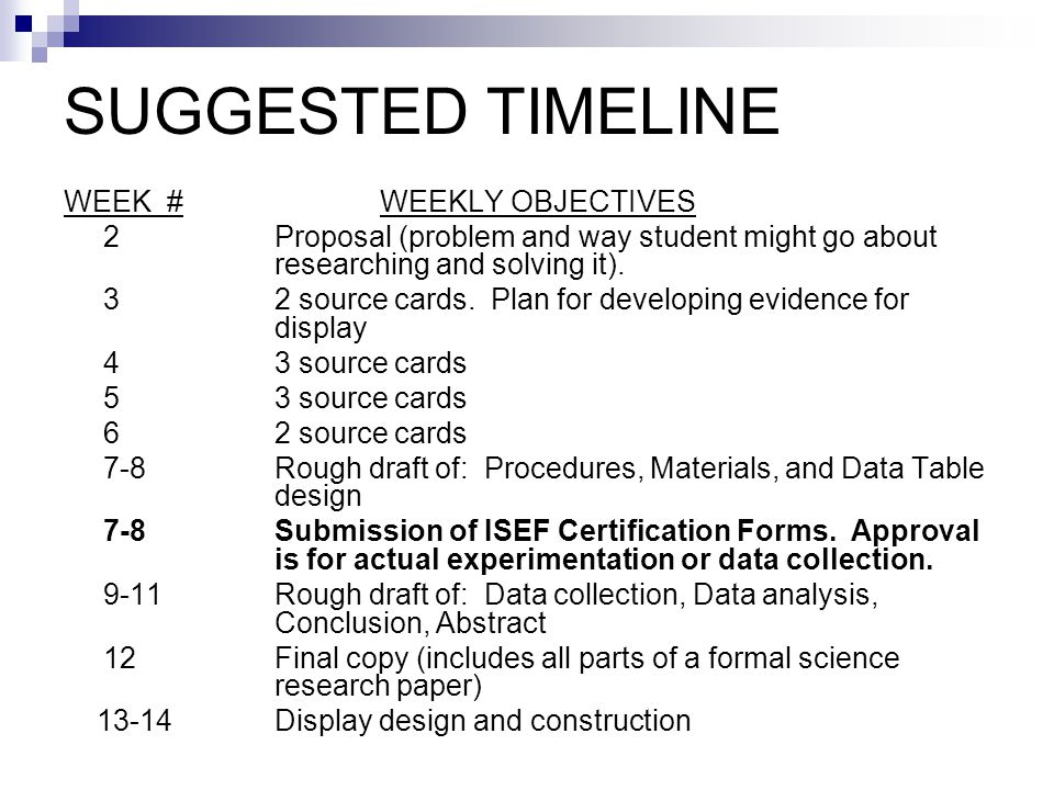 SUGGESTED TIMELINE WEEK #WEEKLY OBJECTIVES 2Proposal (problem and way student might go about researching and solving it).