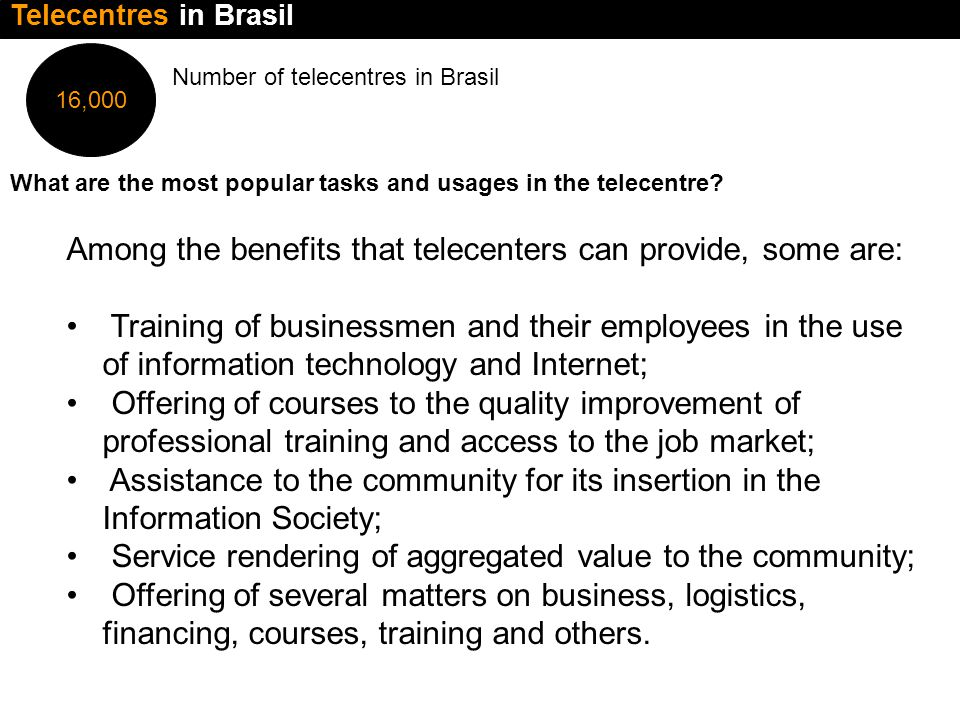 16,000 Number of telecentres in Brasil What are the most popular tasks and usages in the telecentre.