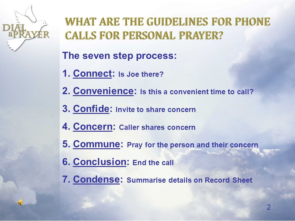 1 10 Dial-a-Prayer and Follow-up Phone Calls Click to start DAP 10