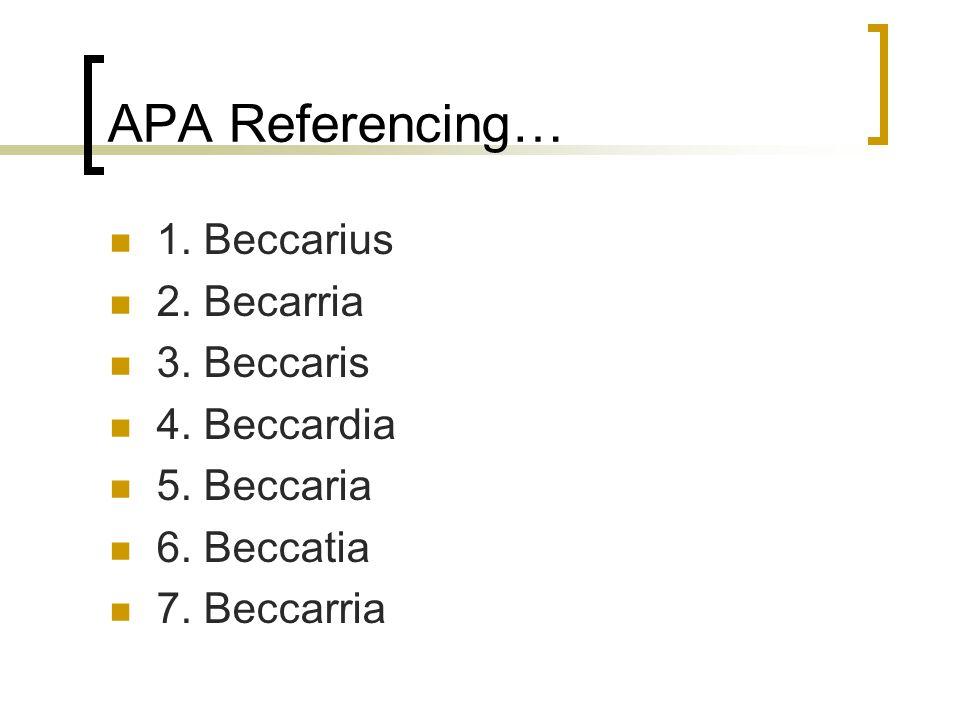 APA Referencing… 1. Beccarius 2. Becarria 3. Beccaris 4.