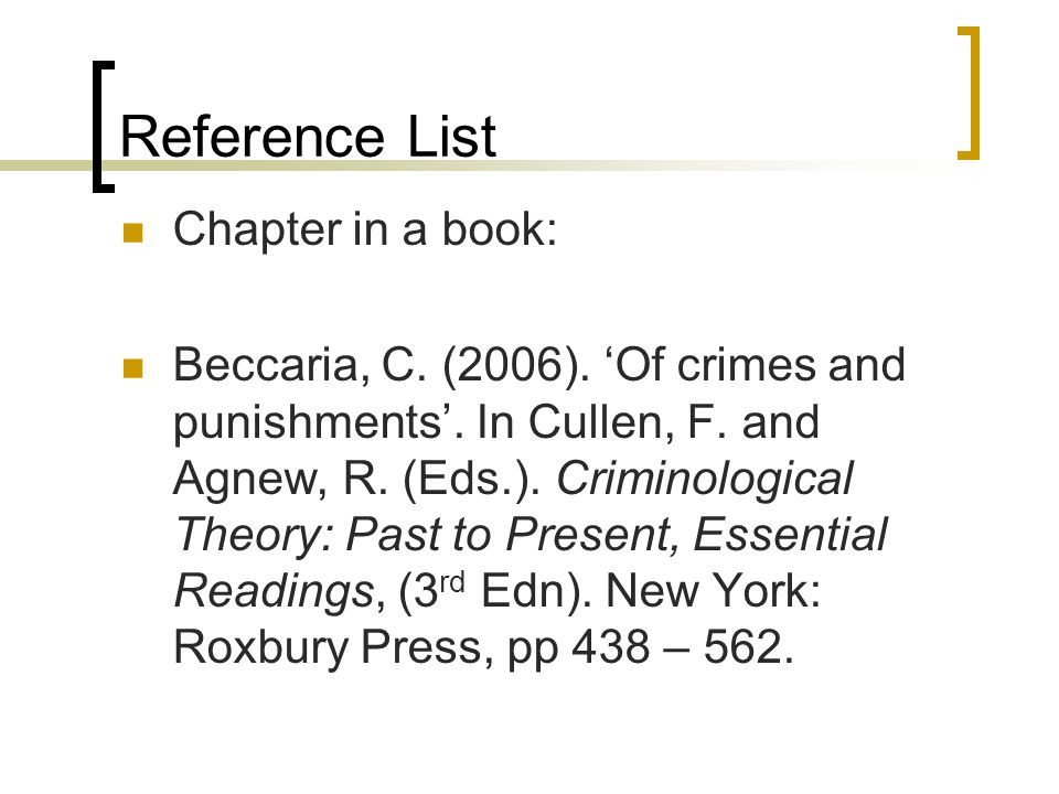 Reference List Chapter in a book: Beccaria, C. (2006).