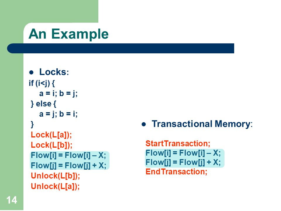14 An Example Locks : if (i<j) { a = i; b = j; } else { a = j; b = i; } Lock(L[a]); Lock(L[b]); Flow[i] = Flow[i] – X; Flow[j] = Flow[j] + X; Unlock(L[b]); Unlock(L[a]); Transactional Memory: StartTransaction; Flow[i] = Flow[i] – X; Flow[j] = Flow[j] + X; EndTransaction;
