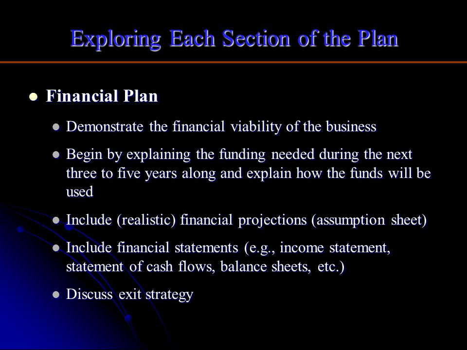 Exploring Each Section of the Plan Financial Plan Financial Plan Demonstrate the financial viability of the business Demonstrate the financial viabili