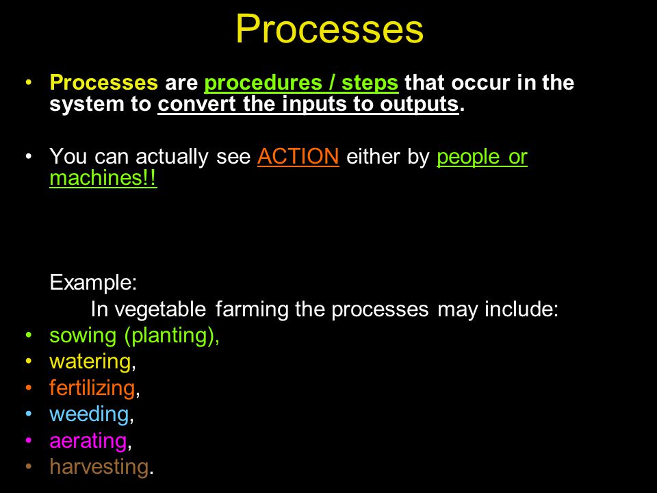 Processes Processes are procedures / steps that occur in the system to convert the inputs to outputs.