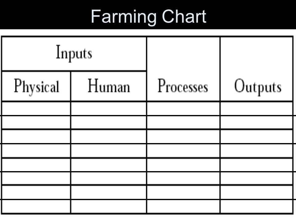 Outputs Outputs refer to those things that are produced by the system. ~ Ex: in cattle farming the outputs could include beef and raw hide whereas veg