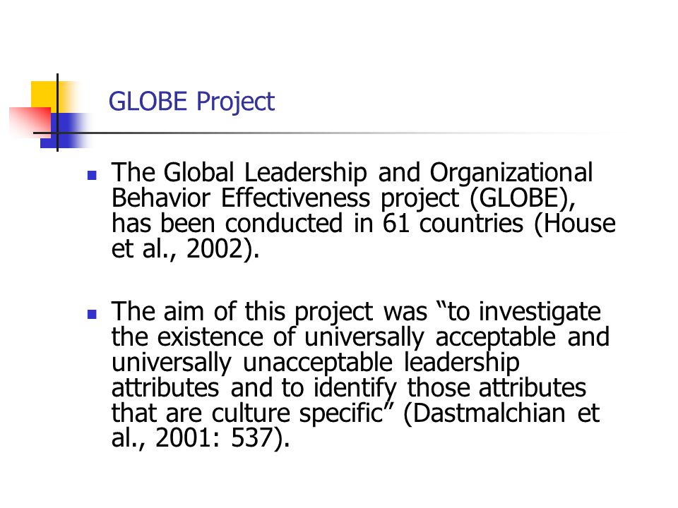 GLOBE Project The Global Leadership and Organizational Behavior Effectiveness project (GLOBE), has been conducted in 61 countries (House et al., 2002)