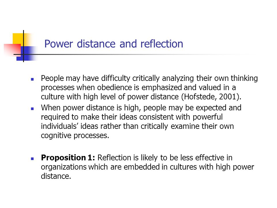 Power distance and reflection People may have difficulty critically analyzing their own thinking processes when obedience is emphasized and valued in