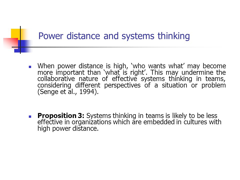 Power distance and systems thinking When power distance is high, 'who wants what' may become more important than 'what is right'. This may undermine t