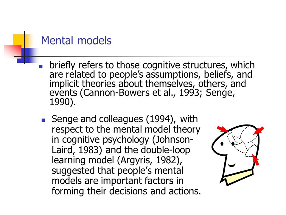 Mental models Senge and colleagues (1994), with respect to the mental model theory in cognitive psychology (Johnson- Laird, 1983) and the double-loop